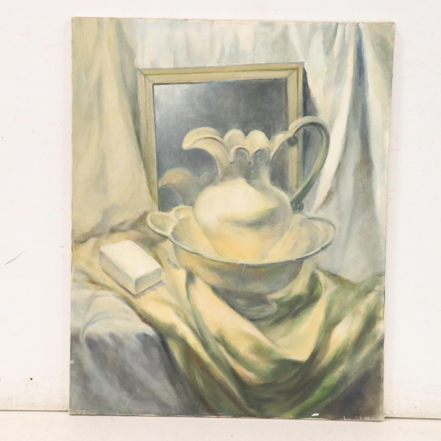 Still Life Oil Painting with Pitcher, Basin and Mirror, Late 20th Century