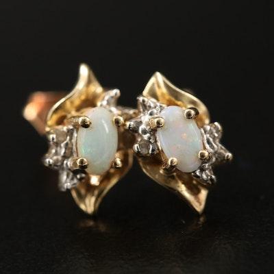 10K Opal and Diamond Earrings