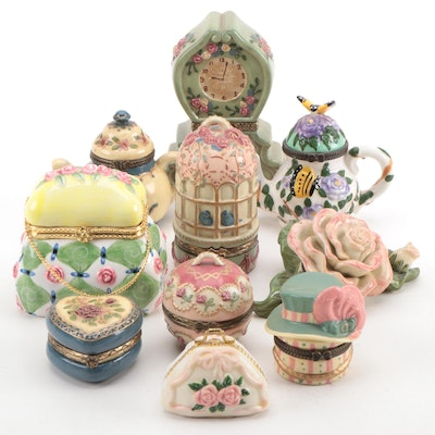 Porcelain Hand Painted Miniature Boxes, Mid-Late 20th Century