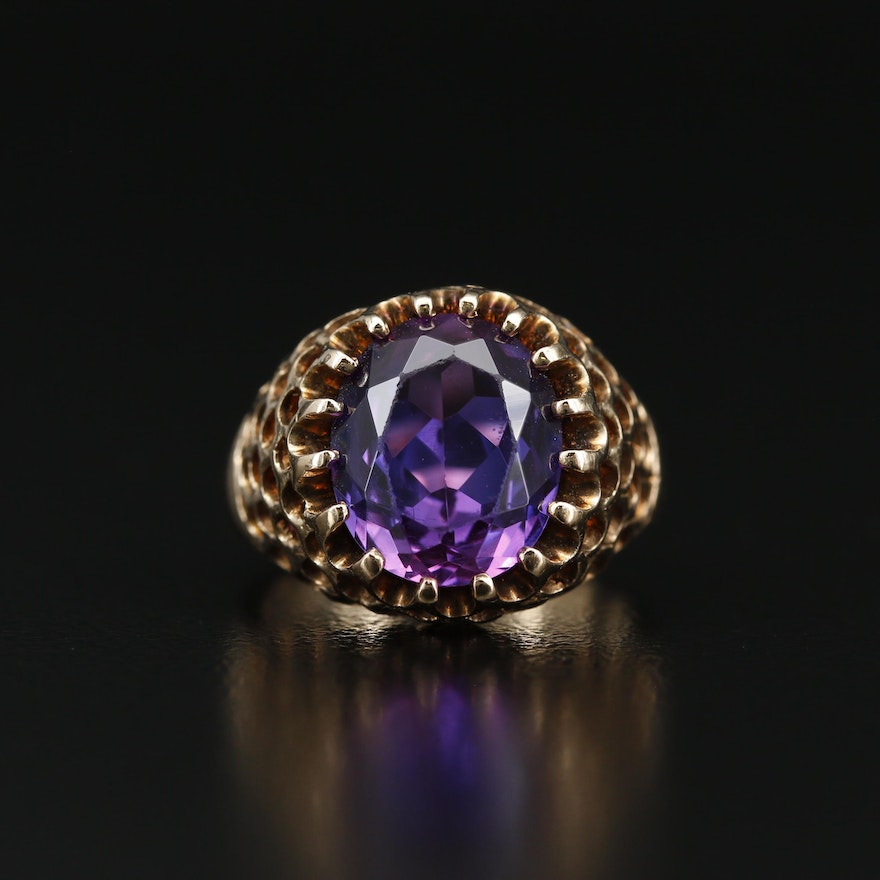 10K Color-Changing Sapphire Ring with Hive Design