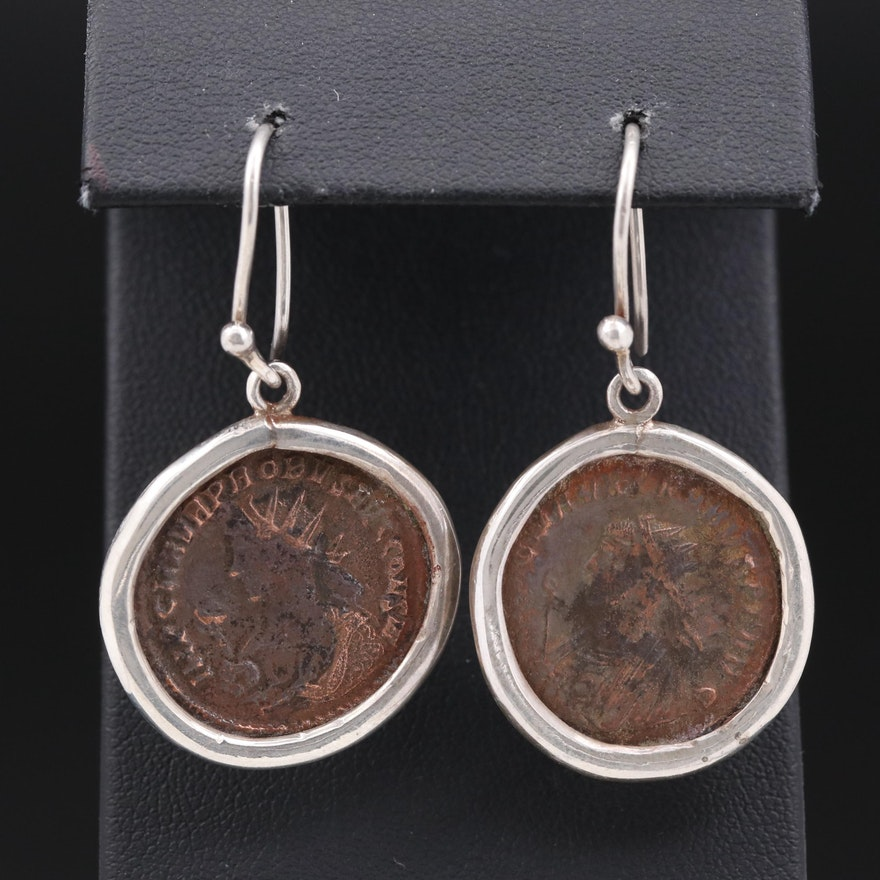 Roman Coin Earrings with Sterling Silver Bezel and Ear Wire