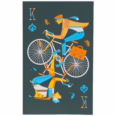 Jeremy Slagle Screen Print of Men on Bicycles Playing Card