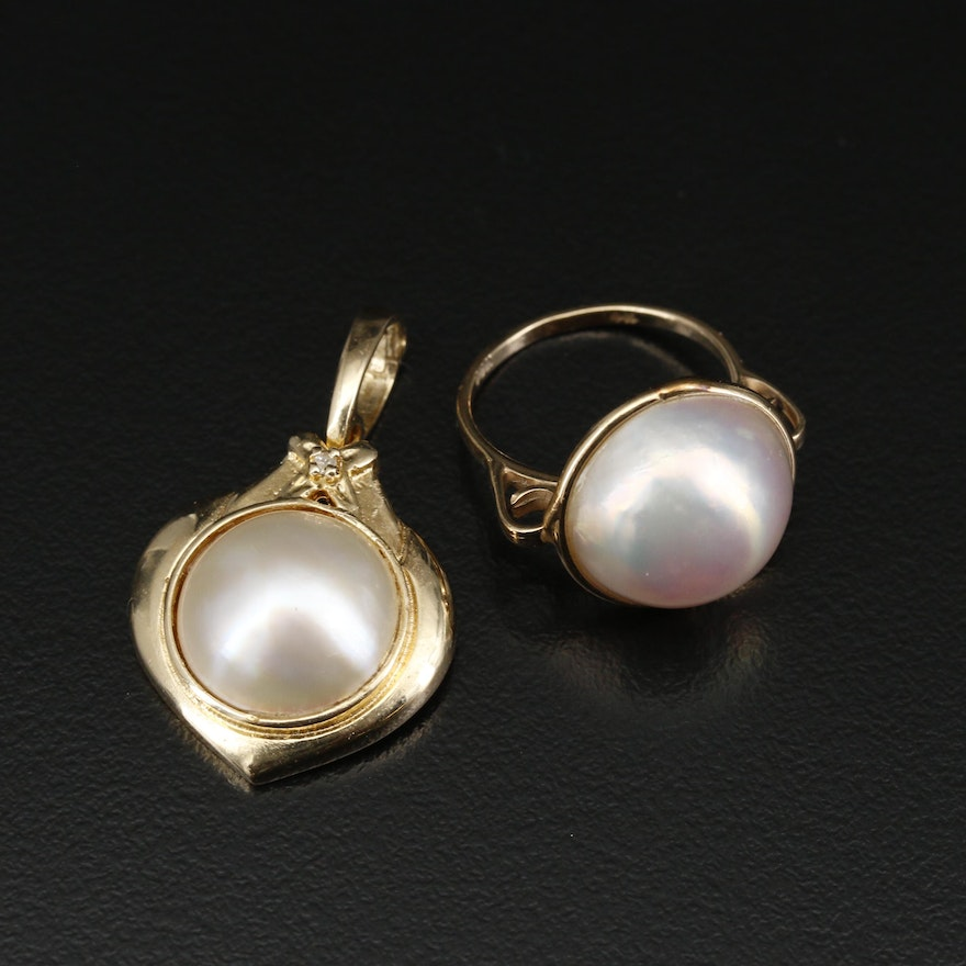 14K Mabé Pearl and Diamond Enhancer Pendant and Solitaire Ring