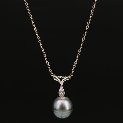 10K Pearl and Diamond Pendant on 14K Chain Necklace