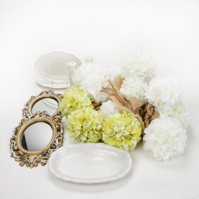 Ironstone Platters, Round Mirrors and Other Decorative Objects