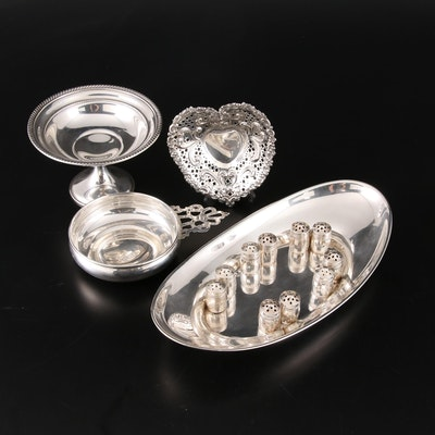 Gorham Sterling Silver Serverware Including Openwork Heart Candy Dish and Others