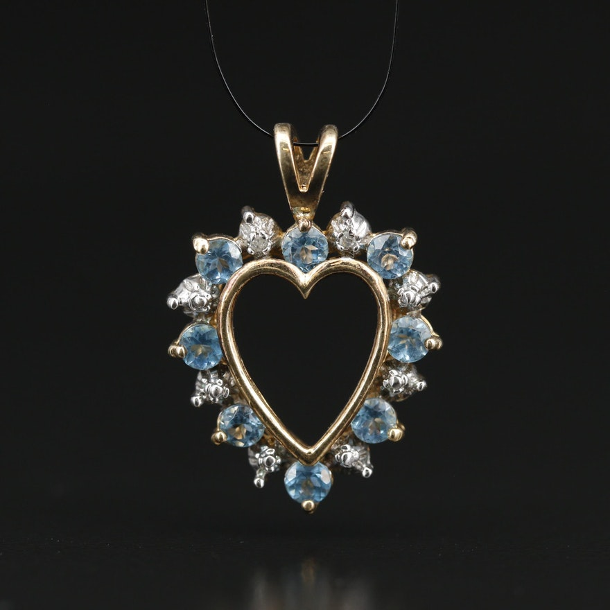 Sterling Silver Swiss Blue Topaz and Diamond Halo Heart Pendant