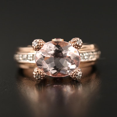 14K Morganite and Diamond Ring