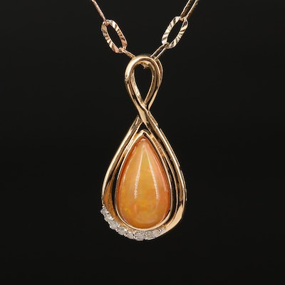 Sterling Silver Opal and Diamond Teardrop Pendant Necklace