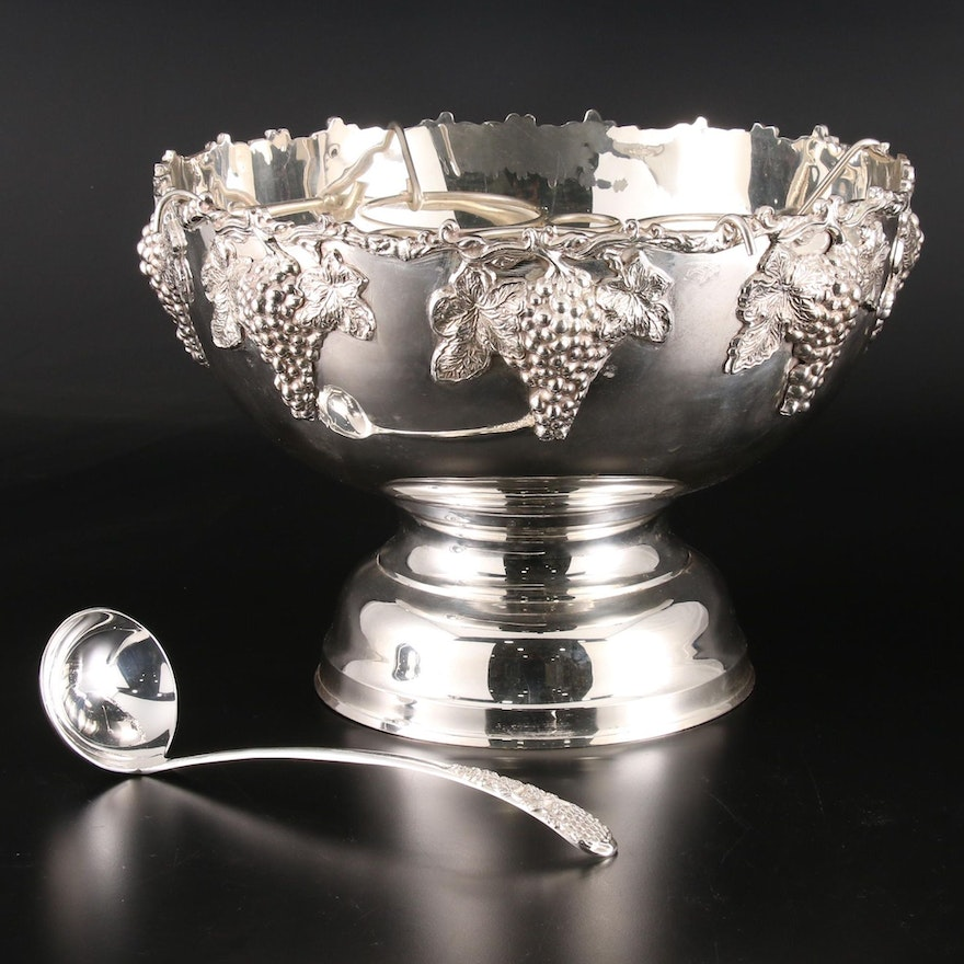 Silver Plate Champagne and Wine Cooler Punch Bowl with Grape Motif