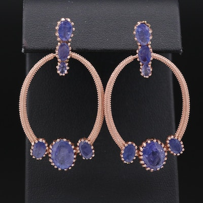 Sterling Silver Tanzanite Textured Door Knocker Earrings