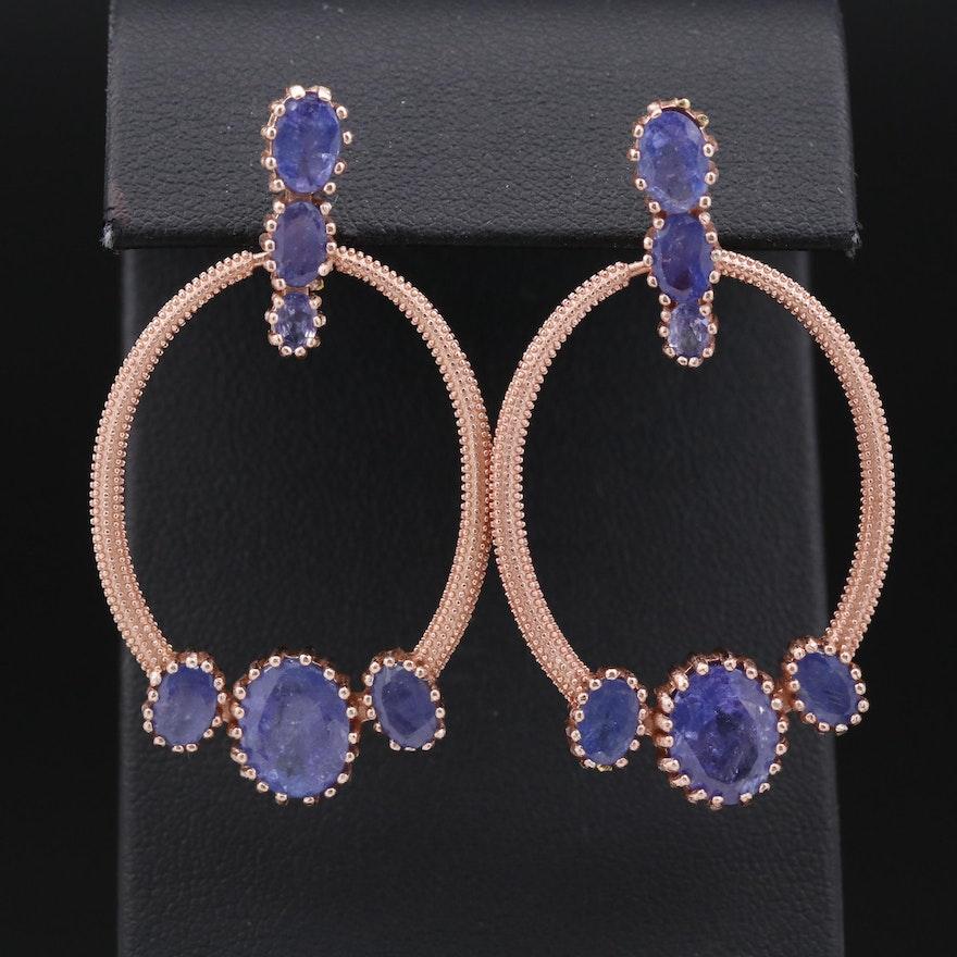 Sterling Silver Tanzanite Textured Door Knocker Earrings