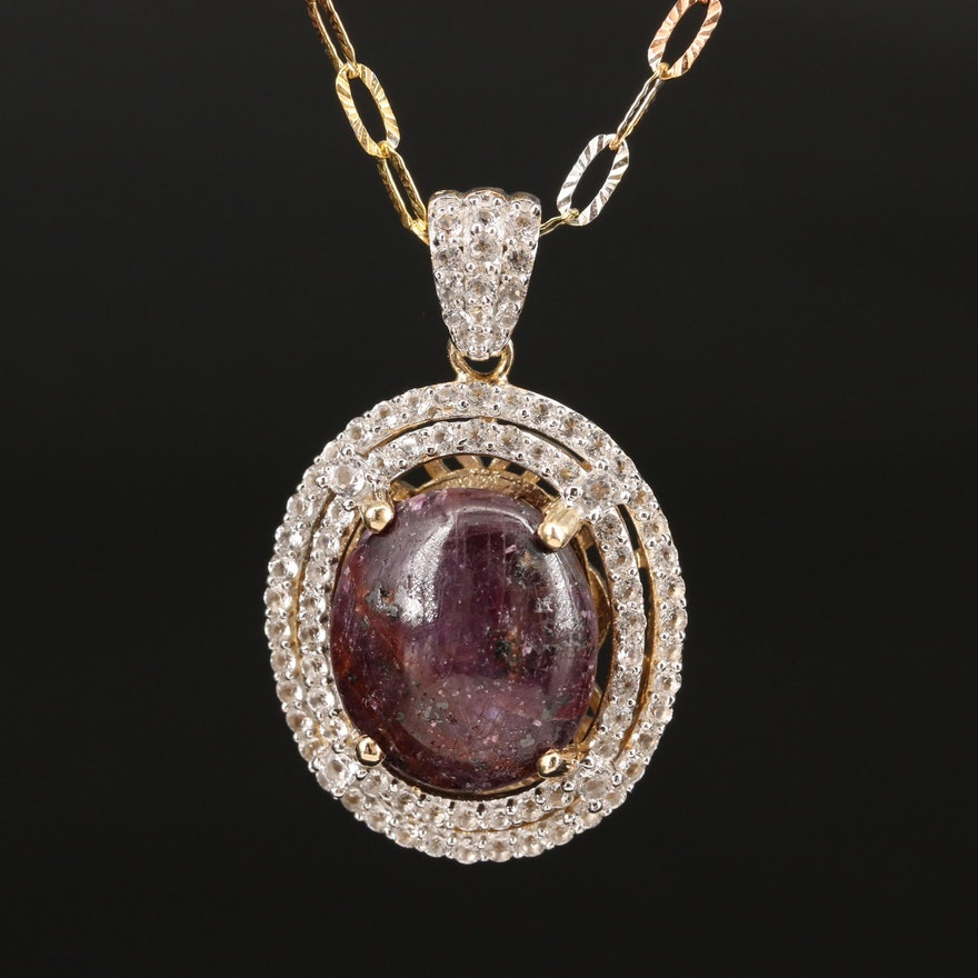 Sterling Silver Corundum, Topaz and Sapphire Pendant Necklace
