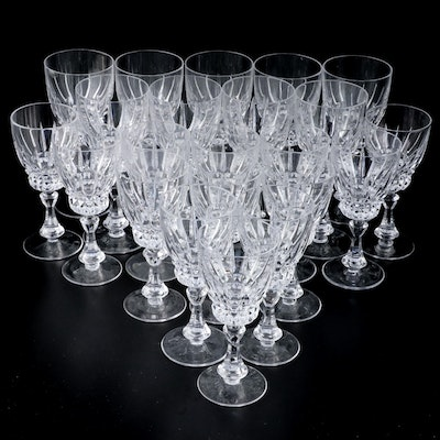Crystal Red and White Wine Glasses, Mid to Late 20th Century