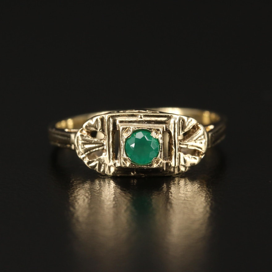 Early Art Deco 14K Chalcedony Ring