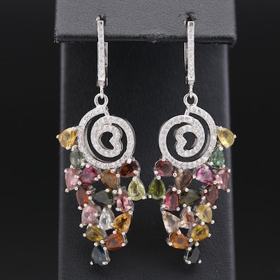 Sterling Tourmaline and Cubic Zirconia Cluster Dangle Earrings with Spiral Motif