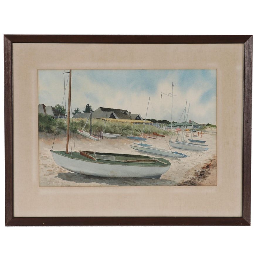 Paul Montgomery Watercolor Painting of Sailboats on Beach