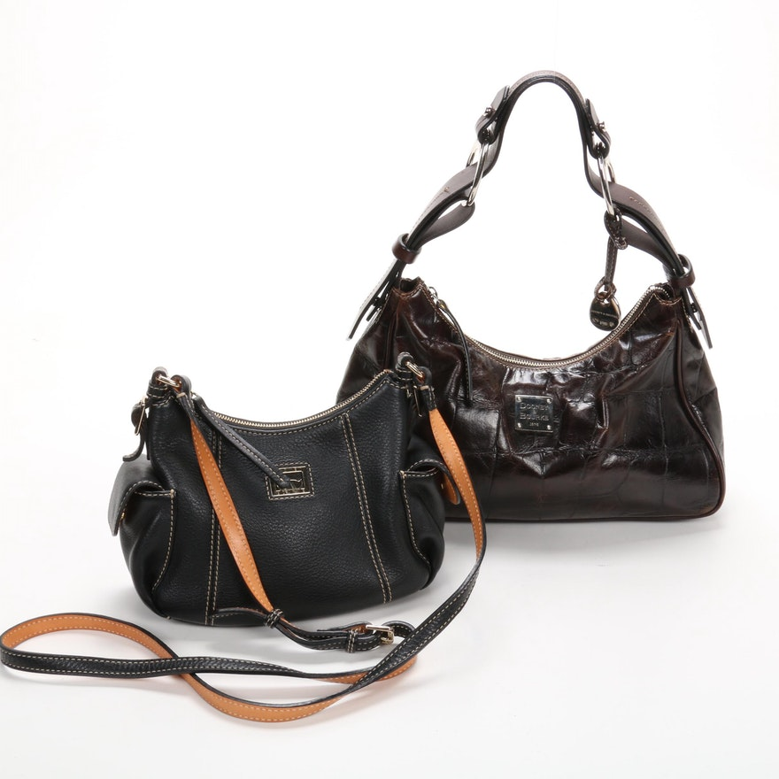 Dooney & Bourke Leather Black Crossbody and Brown Shoulder Bags