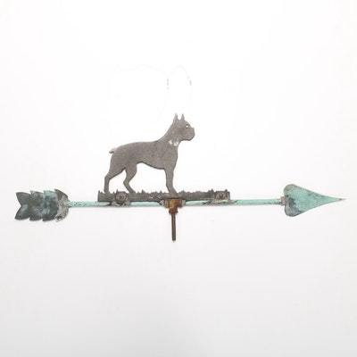 Copper Weather Vane with Boxer Dog Silhouette