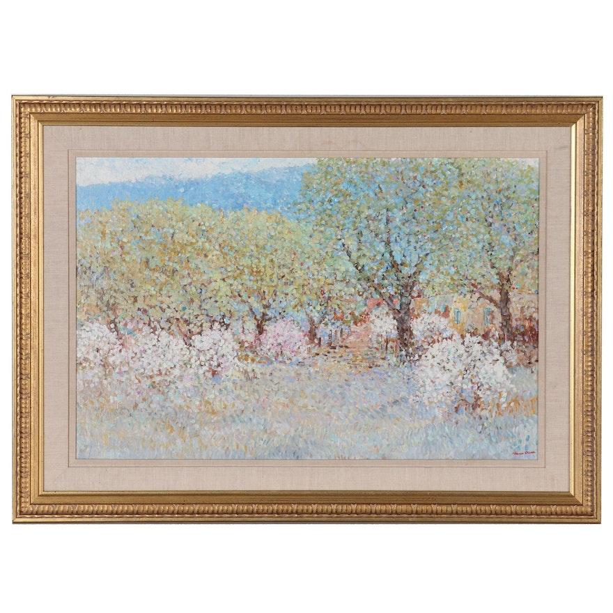 Impressionist Style Landscape Oil painting of Flowering Trees
