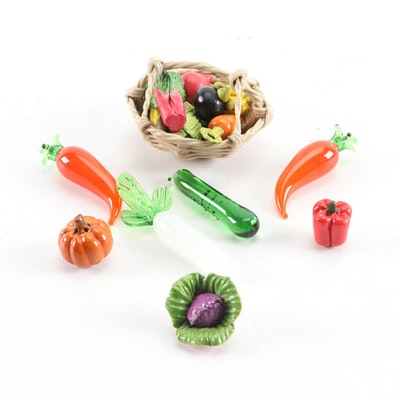 Miniature Ceramic Vegetable Basket and Blown Glass Fruit