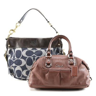 Coach Denim Zoe Hobo Bag and Leather Ashley Satchel