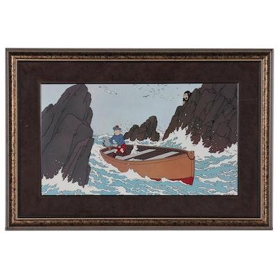 "Offset Lithograph of Tintin Cartoon after Hergé ""L'île Noire"""