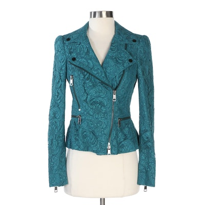 Burberry London Teal Green Lace Moto Jacket