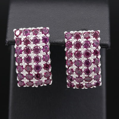 Sterling Silver Rhodolite Garnet Button Earrings
