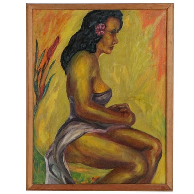 """Eugene Paro Figure Oil Painting of Seated Woman """"Tahiti"""", 1941"""