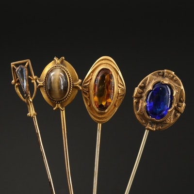 Antique Gemstone Stick Pin Collection