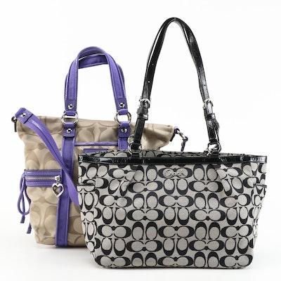 Coach Signature Canvas Handbags with Leather Trim