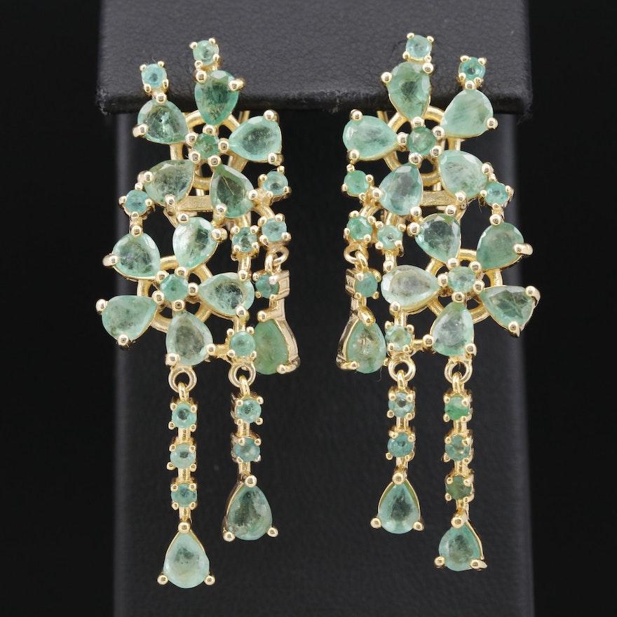 Sterling Silver Emerald Flower Motif Dangle Earrings
