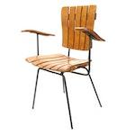 Arthur Umanoff Style Mid Century Modern Slatted Wood and Iron Child's Armchair