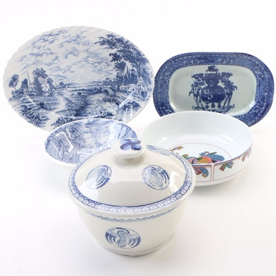 English Staffordshire Blue and White Ironstone Platters and Other Tableware