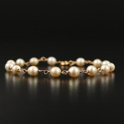 14K Pearl Station Bracelet
