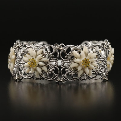 Filigree Flower Motif Panel Bracelet