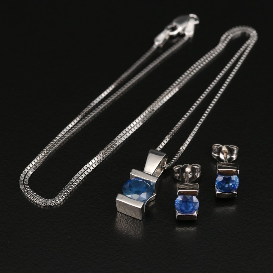 14K Sapphire Necklace and Earring Set