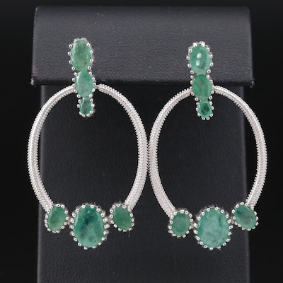 Sterling Silver Emerald Door Knocker Dangle Earrings