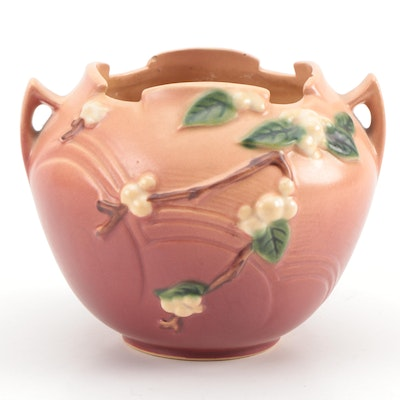 "Roseville Art Pottery ""Snowberry"" Handled Planter, Early to Mid 20th Century"