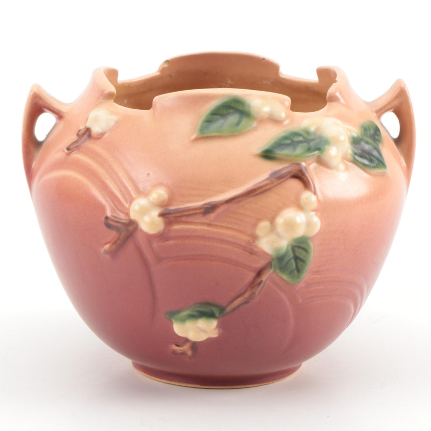 """Roseville Art Pottery """"Snowberry"""" Handled Planter, Early to Mid 20th Century"""