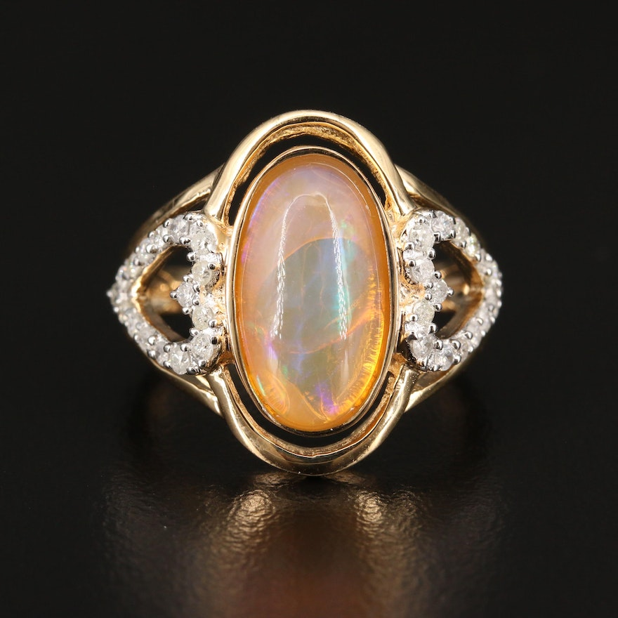 Sterling Silver Opal and Diamond Heart Ring