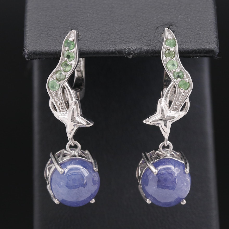 Sterling Silver Tanzanite and Tsavorite Dangle Earrings