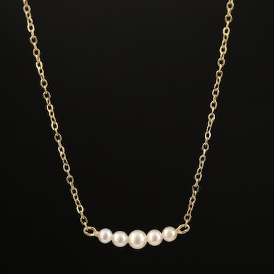 14K Seed Pearl Stationary Child's Necklace