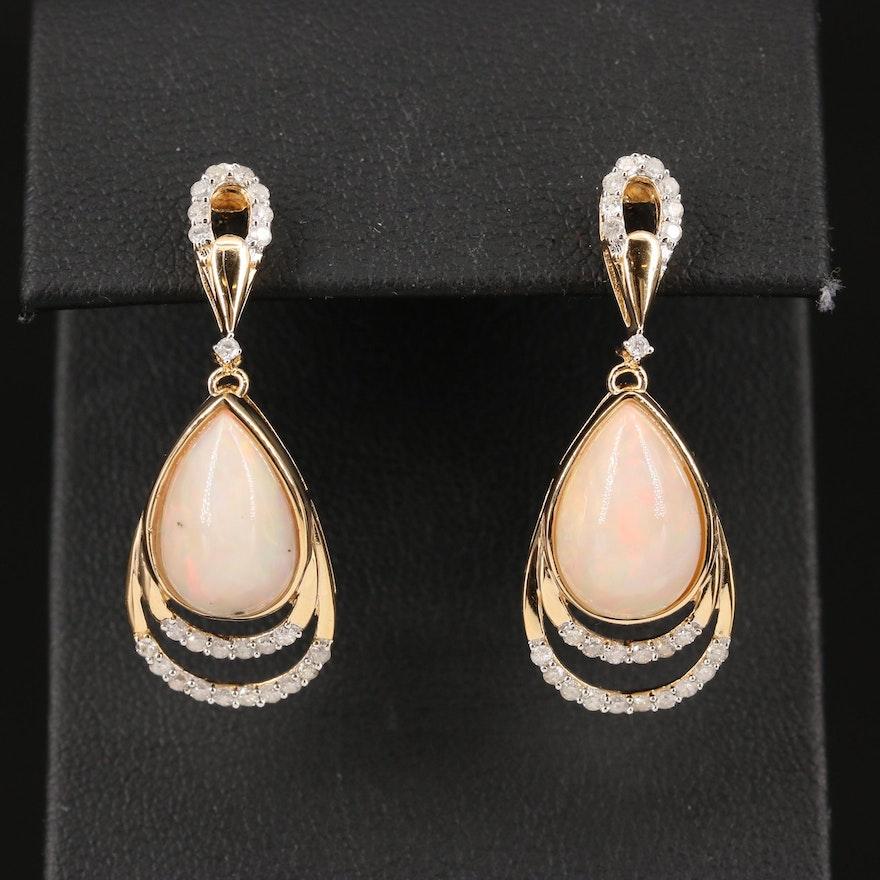 Sterling Silver Opal and Diamond Teardrop Dangle Earrings
