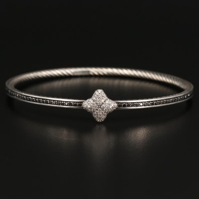 David Yurman Sterling 1.94 CTW Diamond Bangle Featuring Black Diamonds