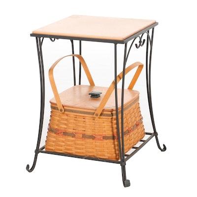 Longaberger Century Celebration Picnic  Basket and Wrought Iron Side Table, 2000
