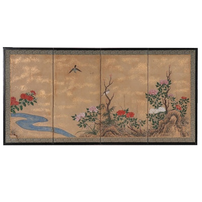 Antique Japanese Hand Painted Screen of Garden with Birds