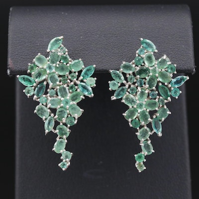 Sterling Silver Emerald Cluster Drop Earring