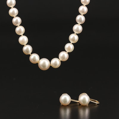 Mikimoto Vintage 14K Pearl Necklace, Screw Back Earrings with Original Paperwork